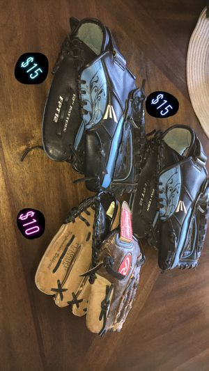 1 Softball glove for $15 and a Tball glove for $10 for Sale in Clovis, CA