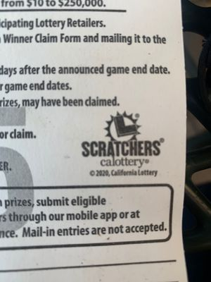 I got a lottery scratcher ticket.. is a1000$ winning ticket selling for 800 don't wanna wait into arrives for Sale in Los Angeles, CA