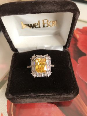 925 Stamped Sterling silver Citrine Gemstone & Sapphire Ring Sz9 for Sale in Itasca, IL