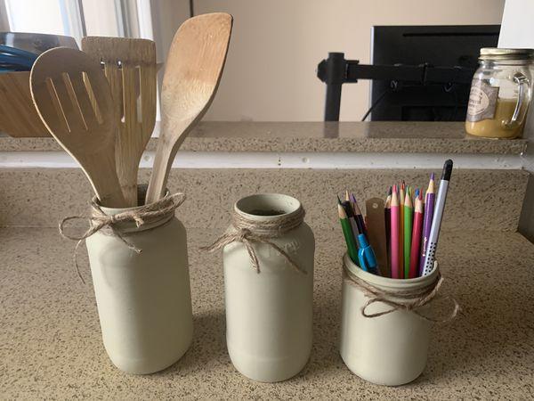 3 Custom Oatmeal Colored Jars