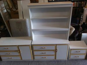 5 dressers, bookcase, end table, single bed frame with mattress and corner desk for Sale in Mantua, OH