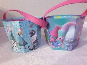 Frozen trolls halloween buckets for Sale in Hesperia, CA