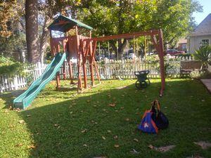 Big back yard kidcraft cedar wood swing set + playset for Sale in Los Angeles, CA