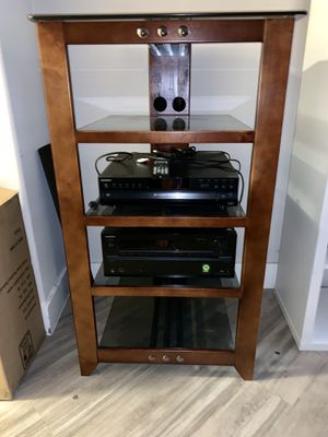 Beautiful Audio tower from magnolia wooden and glass including onkyo reveiver ( new ) and 5 CD exchanger from Sony for Sale in Los Angeles, CA