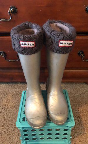Silver Little Kid Hunter Rain Boots-plus Hunter boot socks. (Size 1) for Sale in Rivergrove, OR