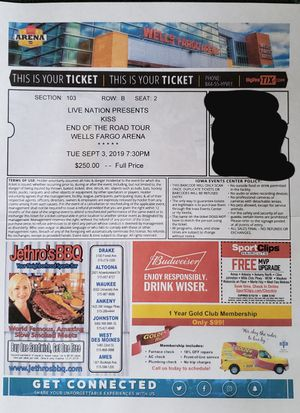 KISS ticket for Sale in Newton, IA
