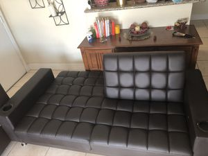 Leather futon dark brown good condition for Sale in Miami, FL