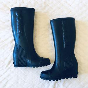 Sorel Joan Tall Wedge Rain Black Rubber Boots for Sale in Battle Ground, WA