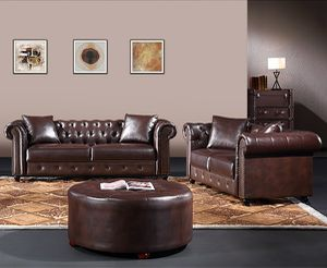 Brown leather Chesterfield sofa set couch loveseat for Sale in Baltimore, MD