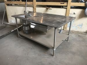 Custom stainless steel island / prep table with po