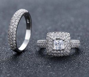 Stamped 925 Sterling Silver Engagement/ Wedding Ring Set for Sale in Dallas, TX