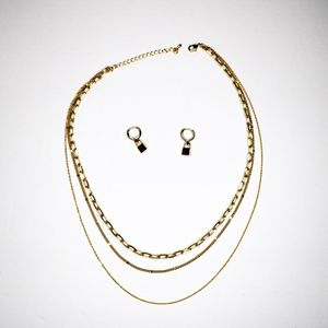 Gold Colored 3 Chain Necklace And Lock Earrings for Sale in Beaumont, CA