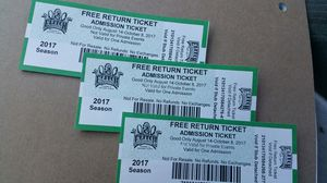 3 Elitch Gardens Tickets good for any day for park or Waterpark for Sale in Denver, CO