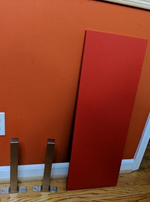 IKEA wall/book shelf in RED with two wooden book-ends for Sale in Greensboro, NC