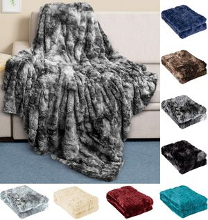 Faux Fur Throw Blanket - Ultra Soft and Fluffy - Plush Throw Blankets for Couch Bed and Living Room - Fall Winter and Spring - 50x65 (Full Size) Gray for Sale in Queens, NY