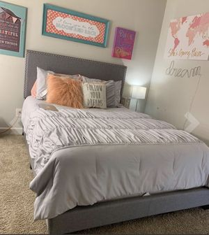 King Grey with Nailhead Upholstered Bed Frame - Brand New for Sale in Wilmington, NC