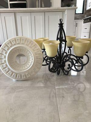 6 Light chandelier and ceiling medallion for Sale in Boca Raton, FL