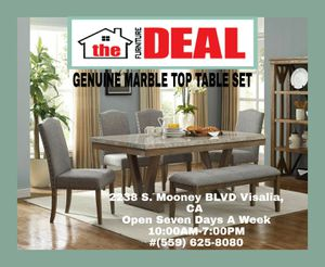 Genuine Marble Top Dining Set Table W/4-Chairs for Sale in Visalia, CA