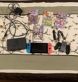 Nintendo Switch with all accessories and 4 Games for Sale in Huntington Beach, CA