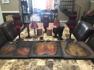 Red vases and kitchen decor for Sale in San Antonio, TX