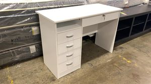 NEW Modern Walden Desk with 5 Drawers WITH KEY, White Finish for Sale in Hilliard, OH