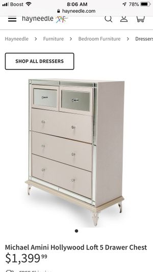 Michael Amini Hollywood loft Mirrored 5 drawer upholstery chest retail $1400 for Sale in San Diego, CA