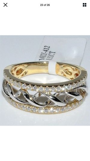 10K Yellow Gold Filled White Topaz Infinity Ring Wedding Women Jewelry Band Sz - 8 for Sale in Stockton, CA