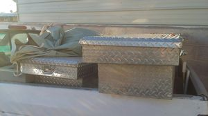 Diamond plate tool boxes full size and smaller truck in great shape for Sale in Las Vegas, NV