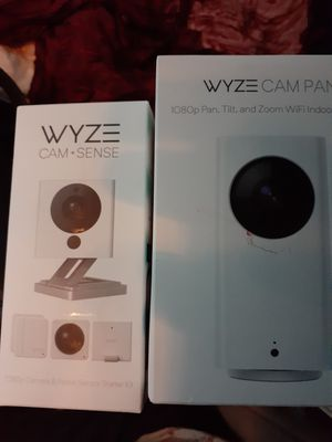 2 Wyze cameras+ sensors 1080p pan, 2 way speaker, live feed. New for Sale in Austin, TX