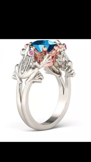 ABSOLUTELY GORGEOUS WOMANS FROG,PRINCE & CROWN 👑 PRINCESS CUT SPARKLING BLUE SAPPHIRE PLATINUM OVER 925 STERLING SILVER ENGAGEMENT BRIDAL RING for Sale in Laveen Village, AZ