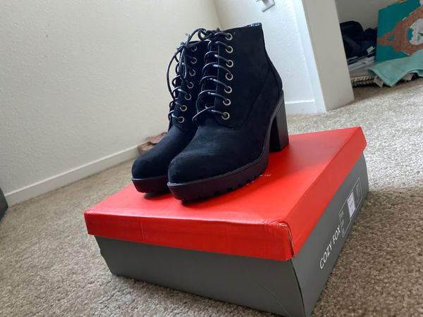 Black Ankle Length High Heel Boots