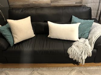 Black Faux Leather Ikea Sofa Couch for Sale in San Diego,  CA
