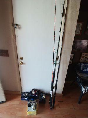 Fishing poles and reels penn 500 jigmaster-penn 114hl special senator6/0 -penn 5500 SS skirted spool spinning reel-Jupiter Z 6000 for Sale in Lake View Terrace, CA