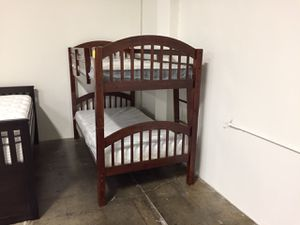 Twin/Twin Stackable Bunk Bed **MATTRESS INCLUDED**, Cherry for Sale in Santa Fe Springs, CA