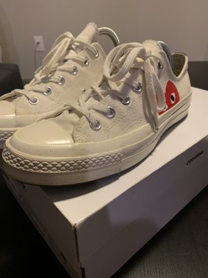 Selling Size 8 White CDG Converses worn once for Sale in Austin, TX