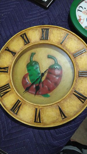 Wall clock with peppers for Sale in Twin Falls, ID