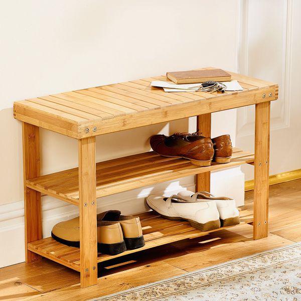 Solid Wood Shoe Rack Storage Bench