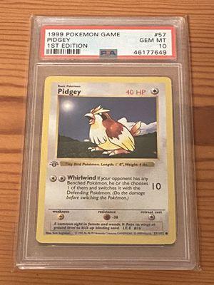 Pokemon PSA 10 Pidgey 1st Edition Base Set 1999 Shadowless GEM MINT 57/102 for Sale in San Jose, CA