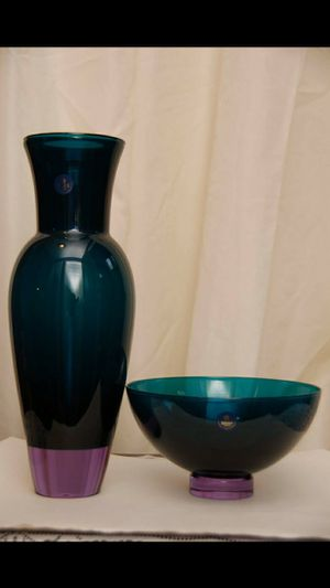 Vintage Royal Copenhagen Crystal teal and purple vase and bowl set- will trade for new air conditioner for Sale in Franklin, NJ