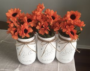 Distressed mason jar vases with flowers included!! Jar/flower choices shown in photos $13 for 3 for Sale in Plainfield, IL