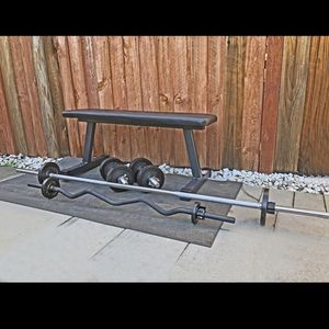 Brand new small home gym (Flat Bench, Long bar, curl bar and chrome dumbbell handles) for Sale in San Jose, CA