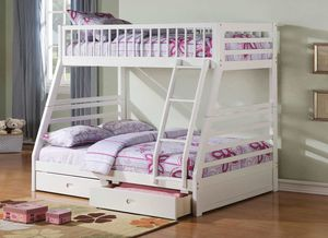 Twin/Full Bunk Bed AND Drawers - 37040 - White X F for Sale in Pomona, CA