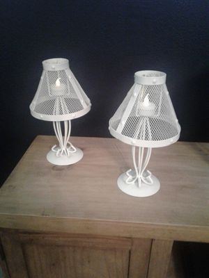 2 White Metal Lamps with Tea Lights for Sale in North Richland Hills, TX
