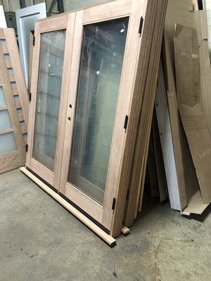 """72"""" new french mahogany dual clear glass outswing doors for Sale in Los Angeles, CA"""