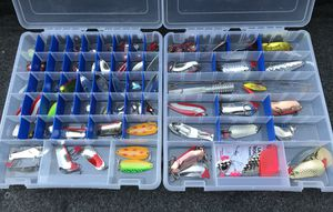 Huge assortment of bass trophy spoons fishing lure jigs tackle metal for Sale in Gresham, OR
