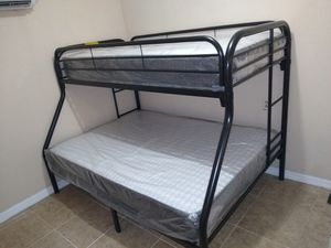 Twin over full bunk beds frame new in the box with the mattress and free delivery and free set up for Sale in Hialeah, FL