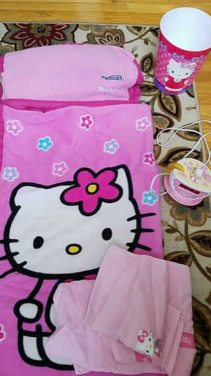 Hello Kitty Ready Bed/Sleeping Bag; Hello Kitty Clock Radio night light alarm.clock,.Hello Kitty towel ensemble, Hello Kitty trash can All for $20 for Sale in Bowie, MD