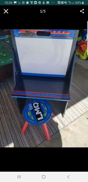Cars kids drawing desk with book storage and seat for Sale in Victorville, CA