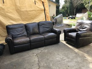Leather Reclining Sofa & Swivel Chair! for Sale in Alta Loma, CA