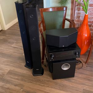 Bluetooth receiver center channel subwoofer and tower speakers for Sale in Phoenix, AZ